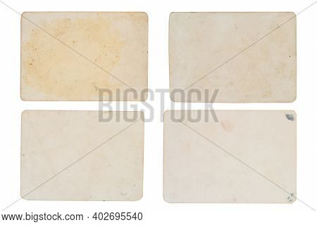 Set Of Photo Paper With Dusty And Grungy Texture And Surface. Use For Image Overlay Effect With Spac