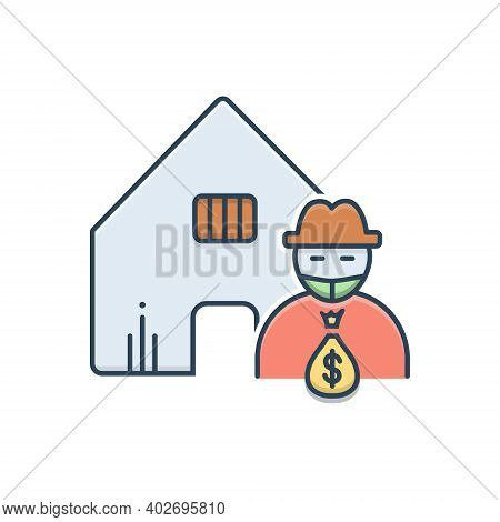 Color Illustration Icon For Theft-vandalism Theft  Vandalism Building Robbery Robber