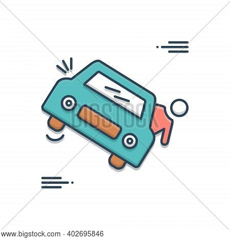 Color Illustration Icon For Accedental-death Accedental Death Careless Accident Injured