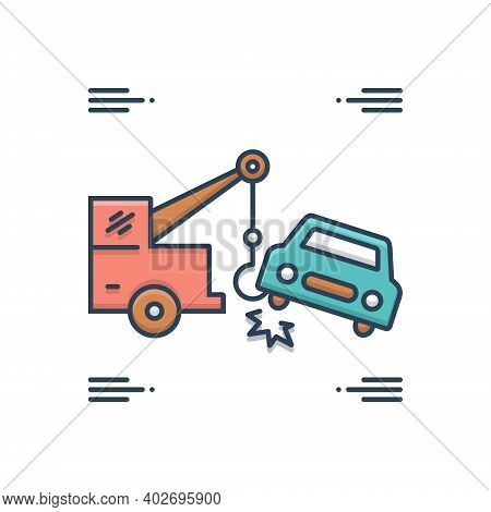 Color Illustration Icon For Car-towing Car Towing Tow Accident Breakdown