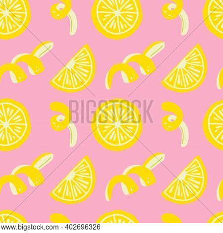 Lemon Seamless Pattern. Exotic Tropical Yellow Citrus Fruit. Juicy Slice And Peel. Cartoon Minimalis