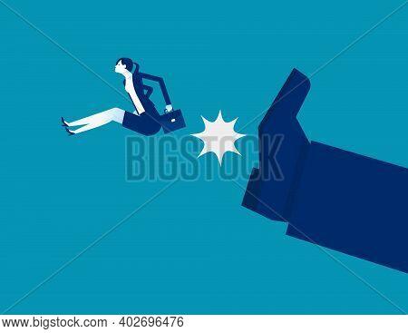 Big Foot Kick Businesswoman. Fired Job. Business Vector Illustration