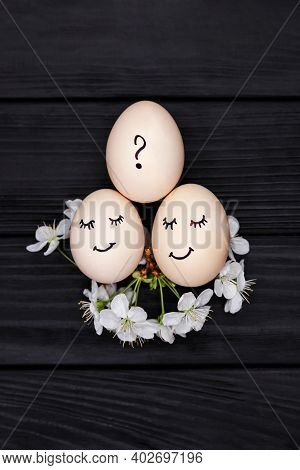 Waiting For A Child, Relationship Between Parents And Children. Gender Affiliation. Three White Eggs