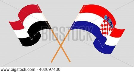 Crossed And Waving Flags Of Croatia And Yemen. Vector Illustration