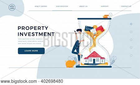 Property Investment Homepage Template. Investor Awaits A Generating Income From Long-term Investing.