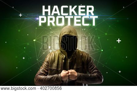 Mysterious hacker with HACKER PROTECT inscription, online attack concept inscription, online security concept