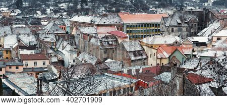 Sighisoara old building and roofs overview,  Sighisoara City At Winter, Panoramic view,  Romania,Europe