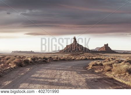 American landscapes- prairie and cliffs, Utah,  USA.