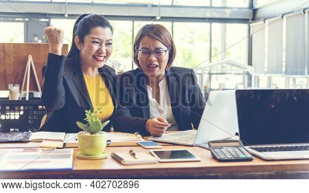 Happy Success Business Woman Partner Working Together In Company Office Corporate Executive Teamwork
