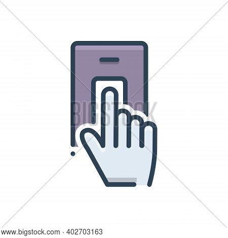 Color Illustration Icon For Finger-scan Finger Scan Security  Biometric Verification Identification