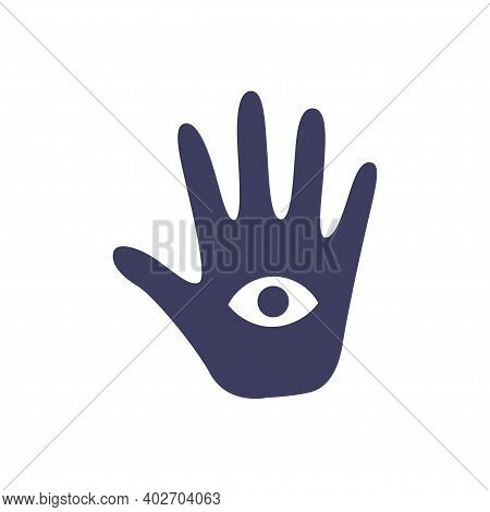 Magic Occult Hand Of Divination With An Eye On A White Background. Attributes For Magic And Witchcra