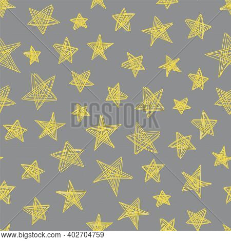 Space Stars Sketch. Seamless Yellow And Gray Pattern. Hand Drawn Vector Illustration. Pen Or Marker