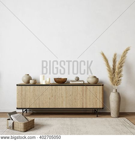 White Interior With Dresser And Decor. 3d Render Illustration Background Mock Up.