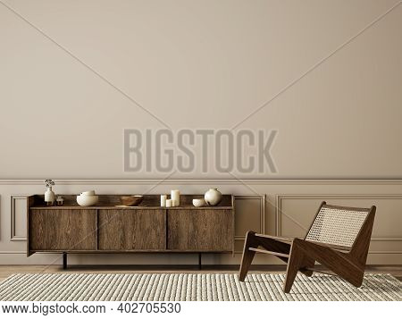 Classic Beige Interior With Dresser, Lounge Chair, Moldings And Decor. 3d Render Illustration Mock U
