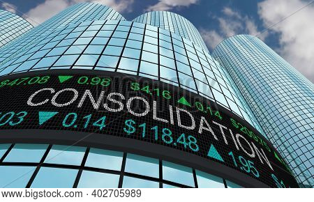 Consolidation Business Stock Market Take Over Company Downsize 3d Illustration