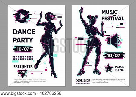 Posters Set With Dancing Girls. Dance Festival Banner Template. Party Background With Woman Silhouet