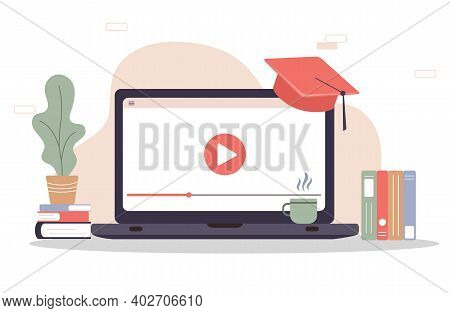 Online Education. Flat Design Concept Of Training And Video Tutorials. Vector Illustration For Websi