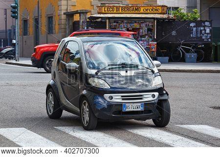 Bergamo, Italy - May 22, 2019: Smart Car On The Street In Bergamo. Smart Is A German Automotive Bran