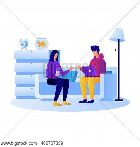 Office Work Form Home Illustration Vector, Office Employee Working Office Work In Home