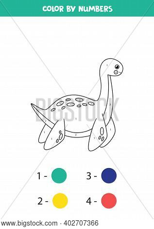 Color Cute Cartoon Dinosaur Plesiosaurus By Numbers.