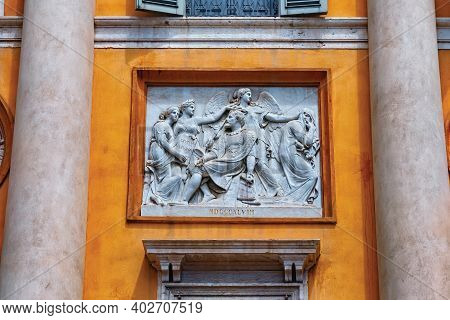 Bergamo, Italy - May 22, 2019: Bas-reliefs On One Of The Historic Buildings In Upper Bergamo (citta