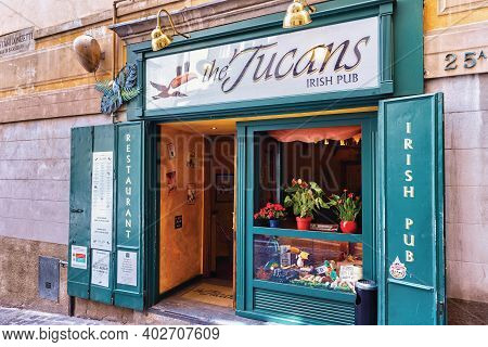 Bergamo, Italy - May 22, 2019: Entrance To Irish Pub The Tucans On The Via Gaetano Donizetti Street