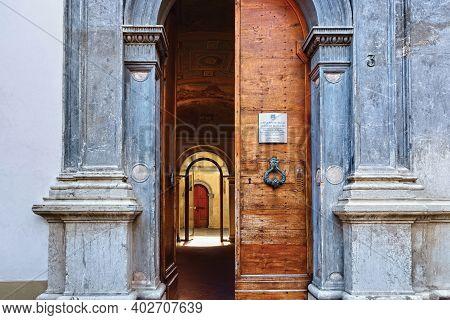 Bergamo, Italy - May 22, 2019: Entrance To The House Of Arciprete (casa Fogaccia O Dell'arciprete),