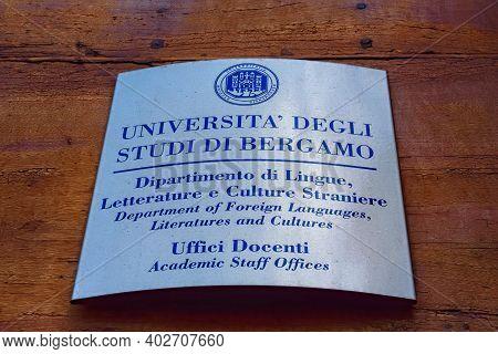Bergamo, Italy - May 22, 2019: Sign On The House Of Arciprete (casa Fogaccia O Dell'arciprete), Buil