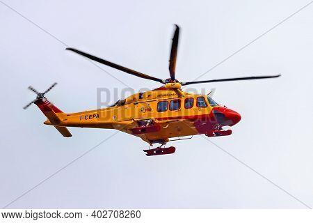 Bergamo, Italy - May 22, 2019: Rescue Helicopter Elilombarda Agusta Westland Aw139 I-cepa Of The Cns