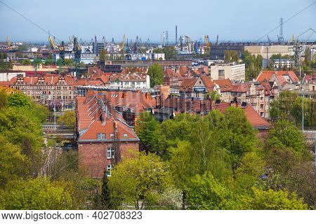 Gdansk, Poland - May 14, 2017: Aerial View Of The Historical Buildings Near The Industrial Part Of G