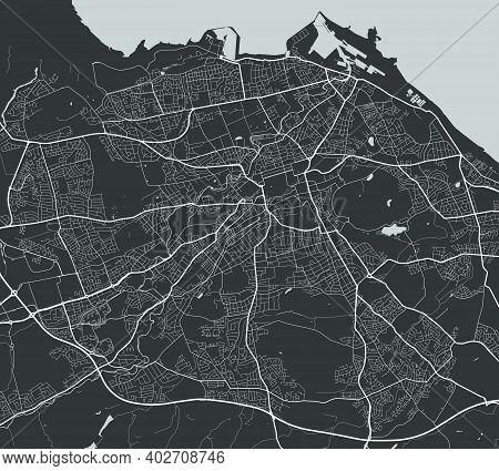 Urban City Map Of Edinburgh. Vector Illustration, Edinburgh Map Grayscale Art Poster. Street Map Ima