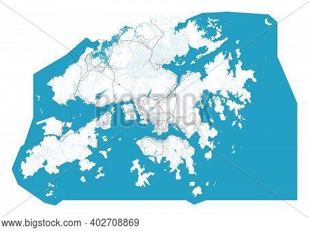 Hong Kong Map. Detailed Map Of Hong Kong City Administrative Area. Cityscape Panorama. Royalty Free