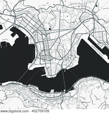 Urban City Map Of Hong Kong. Vector Illustration, Hong Kong Map Grayscale Art Poster. Street Map Ima