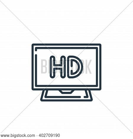 hd icon isolated on white background. hd icon thin line outline linear hd symbol for logo, web, app,