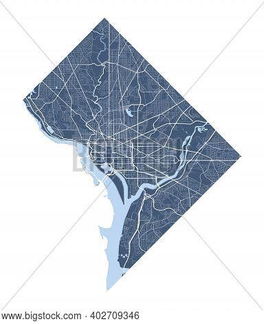 Washington Map. Detailed Vector Map Of Washington City Administrative Area. Cityscape Poster Metropo