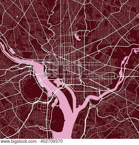 Detailed Map Of Washington City Administrative Area. Royalty Free Vector Illustration. Cityscape Pan