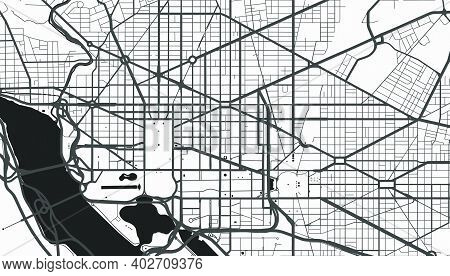 Urban City Map Of Washington. Vector Illustration, Washington Map Grayscale Art Poster. Street Map I