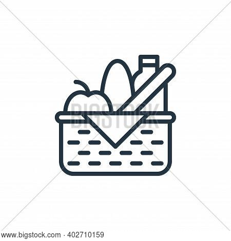 food basket icon isolated on white background. food basket icon thin line outline linear food basket