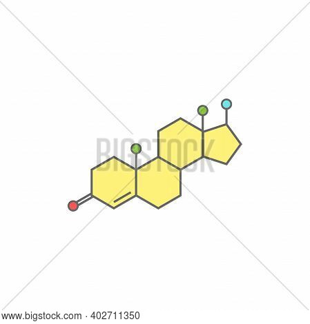 Testosterone Molecula Structure. Colorful Line Icon Isolated On White Background. Male Sex Hormone M