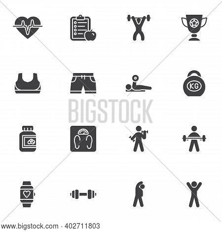 Sport And Fitness Vector Icons Set, Modern Solid Symbol Collection, Filled Style Pictogram Pack. Sig