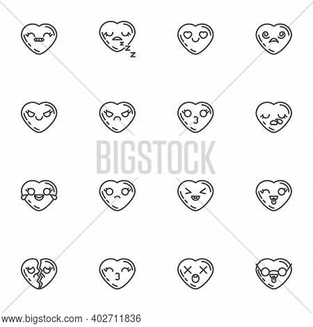 Heart Shape Emoticon Line Icons Set, Outline Vector Symbol Collection, Linear Style Pictogram Pack.