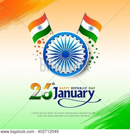 26th January, Republic Day Of India Celebration Concept Vector Background.
