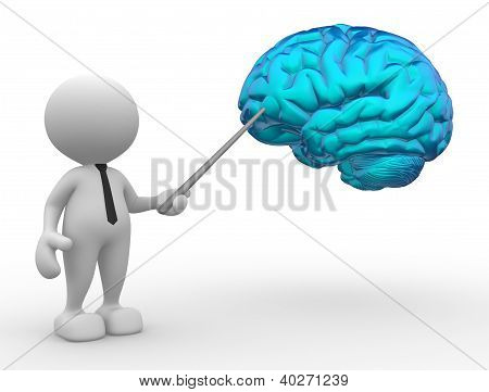 3d people - man person pointing a brain poster