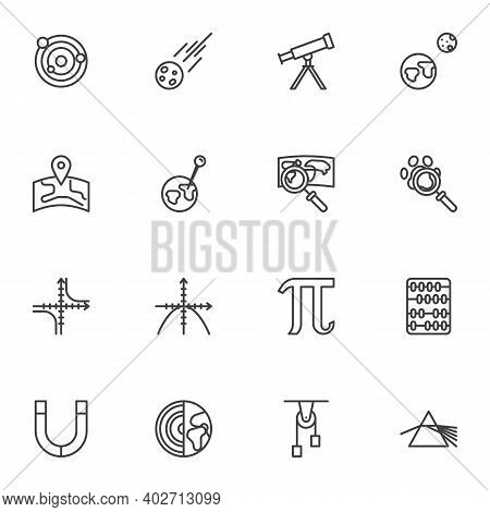 Science Line Icons Set, Outline Vector Symbol Collection, Linear Style Pictogram Pack. Signs, Logo I