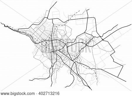 Sapporo City Map (japan) - Town Streets On The Plan. Monochrome Line Map Of The  Scheme Of Road. Urb
