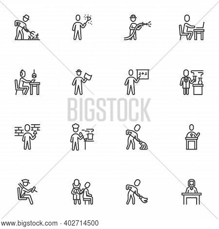 Working People Line Icons Set, Outline Vector Symbol Collection, Linear Style Pictogram Pack. Signs,