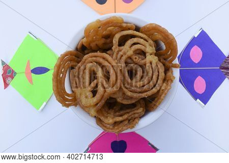 Popular Sweet Dish Jalebi Searved During Indian Kite Festival Of Uttarayan Or Makar Sankranti In Guj