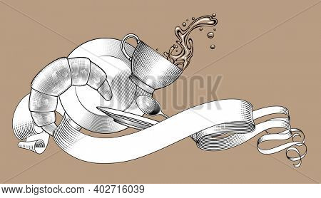 Retro ribbon banner with falling coffee cup, spilling water, saucer, plate, spoon and bagel. Vintage stylized drawing