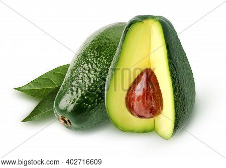 Avocados Isolated On White Background With A Clipping Path. Green Pear-shaped Fruits. Alligator Pear