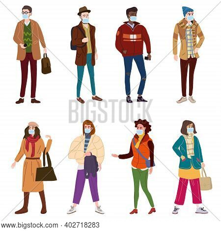 Set Young People Womans Mans In Modern Autumn Trendy Clothes. In Medical Mask, Individual Protection